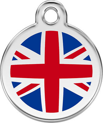 Red Dingo Union Jack Enamel/stainless Steel Dog/cat Id Tag Tags -Free Engraving