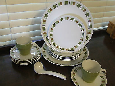 Mikasa China South Pacific Dinner Plate Salad Plate Cup Saucer Ladle 15 PCS