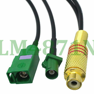 """cable RCA female to Fakra E 6002 Green SMB jack and plug male RG174 6"""" pigtail"""