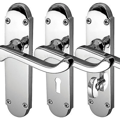 Epsom Internal Door Handles Lock Latch Bathroom Sets - Polished or Satin Chrome