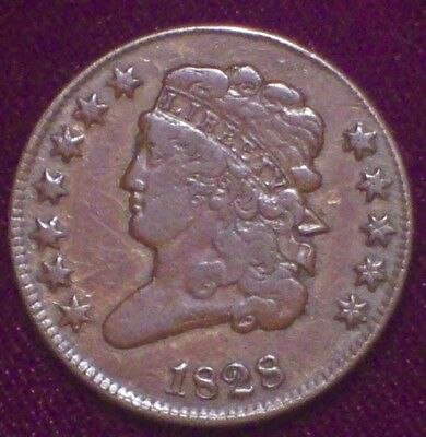 1828 HALF CENT Classic Head *RARE 12 STAR - VF Detailing C-2 Brown Tone HC