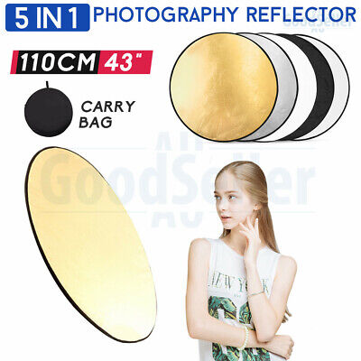 110CM 5in1 STUDIO PHOTOGRAPHY PHOTO COLLAPSIBLE LIGHT REFLECTOR & HANDLE GRIP AU