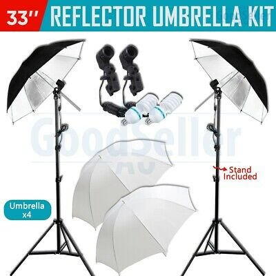 "Photography Studio Continuous 33"" Umbrella Lighting Light Stand Kit 2x135w Bulbs"