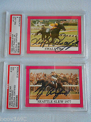 1990 Horse Star #103 1977 Seattle Slew signed Jean Cruguet PSA/DNA NM 7 & #110