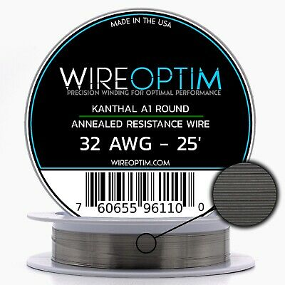 Kanthal 32 AWG Gauge A1 Wire 25' Roll .20mm , 13.75 Ohms/ft Resistance
