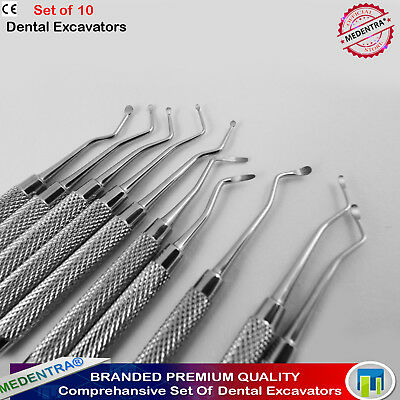 Dental Excavators Set Of 10 Endondontic Root canal Cavity Preparation Scalers CE