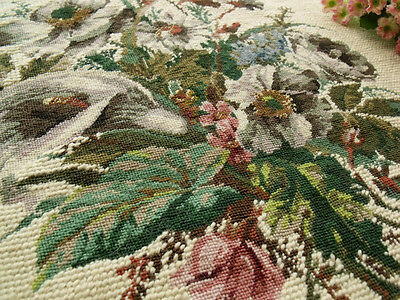 Vintage Completed Needlepoint Canvas AntiQue Tapestry~Calla Lily Rose Bouquet