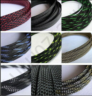 Color Expandable Braided DENSE PET Sleeving Cable 3 Weave High Densely Audio Diy