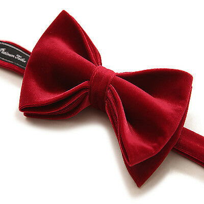 Mens Formal Burgundy Red Velvet Bow Tie Pre Tied Adjustable Length Necktie