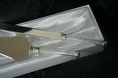 Wedding Cake Knife and Server  Boxed Set With crystal Beads