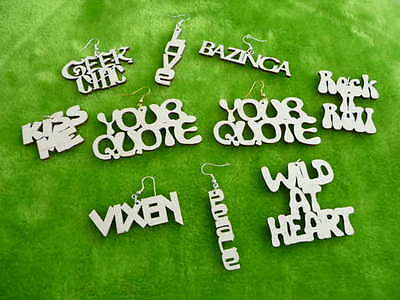 Personalised wooden earrings,pendant your quote or name laser cut. choose size