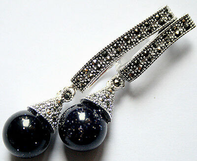 Delicate 20X58mm Marcasite 925 Sterling Silver 12mm Blue Goldstone Shiny Pendant