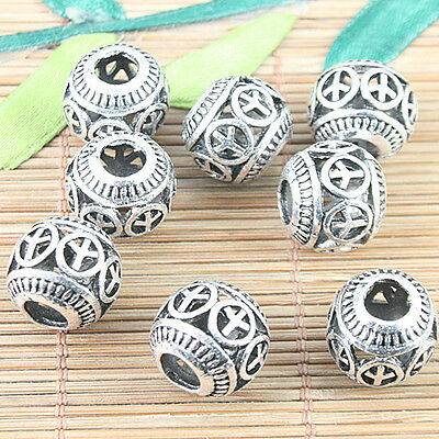 10pcs dark silver color peace symbol patterns hollow Loose beads h5100