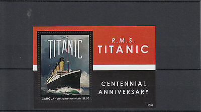 Canouan Grenadines St Vincent 2013 MNH RMS Titanic Centennial Anniversary 1v S/S