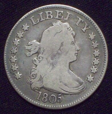 1805 Draped Bust Quarter DOLLAR SILVER Authentic B-2 VF Detailing US Coin .25