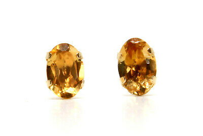 9ct Gold Stud earrings Citrine Gift Boxed Made in UK