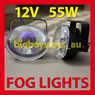 Fog Lights Universal Fitting Light Oval 12V 55W ** White Blue Lens **