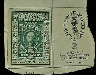 1918 Us War Savings Five Dollar $5 Certificate Stamp