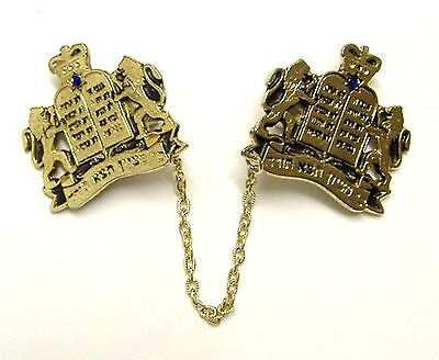 "24k GOLD PLATED Tallis Clip Israel ""Torah Crown"" Prayer Shawl Talis Tallit Talit"