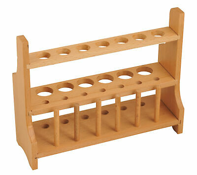 Eisco Labs Wood Test Tube Rack, 13 Hole, 6 Pin - 2 Shelves, 20-25mm