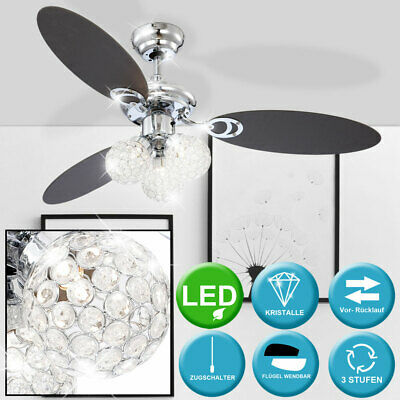 LED Ceiling fan with lighting and pull switch living room light lighting lamp