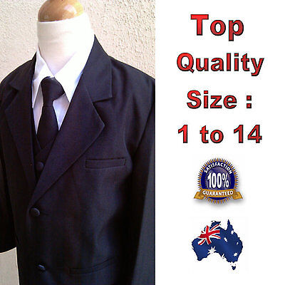 5pc Set Boys Formal Suit Black, Wedding Tuxedo Christening Outfit Size 1 to 14