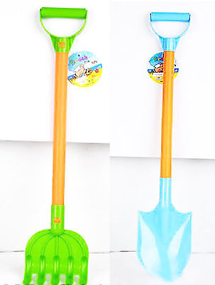 SET of LONG plastic Rake + Shovel sand beach play sand water toy Castle Sandbox