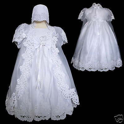 New Baby Girl Baptism Christening Dress Gown size New Born -12M, 24M-30M White
