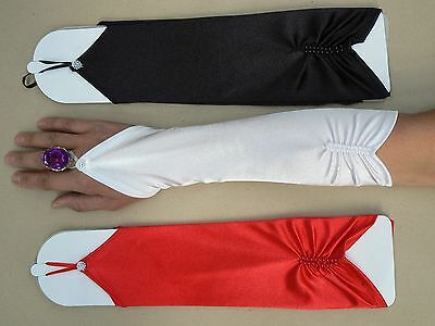 Fingerless Formal Wedding Long Satin Gloves White Black Red