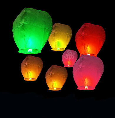 20pcs mix colors Chinese Wish Lanterns Paper Sky Fire Flying Wedding Party Lamp