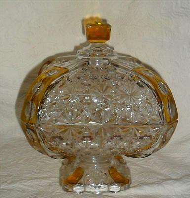EAPG Daisy Button Thumbprint Elegant Compote w Lid Crystal Compote