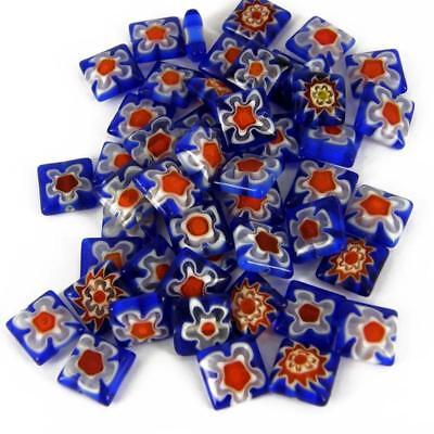 Millefiori Jewellery Making Beads ASSORTED MIX SQUARES PK 15 10mm M27