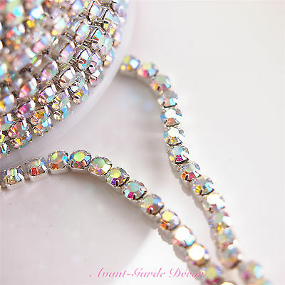 AB-MULTI SILVER 1mtr x 3mm Rhinestone Chain Diamante Crystal Craft Decoration
