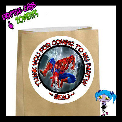 Spiderman Superhero Birthday Party Favor Goody Bag STICKERS - Personalized WHT