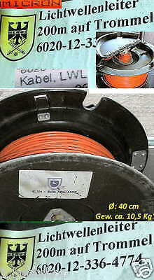 LICHTWELLENLEITER 200m LWL GLASFASERKABEL 50/125µ OPTISCHES KABEL OPTICAL CABLE