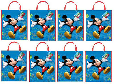 Disney MICKEY MOUSE CLUBHOUSE~ (8) Plastic Tote Bags ~ Birthday Party Supplies