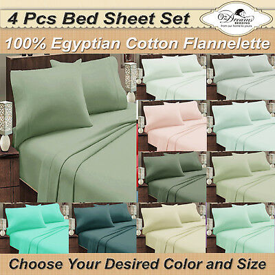NEW QUEEN or KING Size EGYPTIAN Cotton FLANNELETTE / FLANNEL 4Pcs Bed Sheet Set