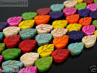 Mix Color Howlite Turquoise 9mm x 13mm Lovely Leaf Spacer Beads 15.5'' Strand