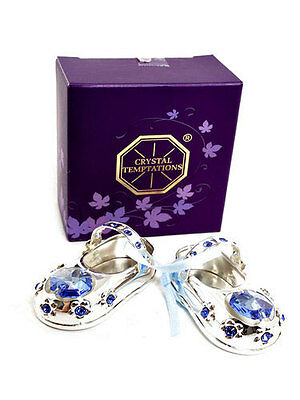 Silver Plated Baby Shoes + Blue Ribbon + Swarovski Crystal - Cake Topper LP16743