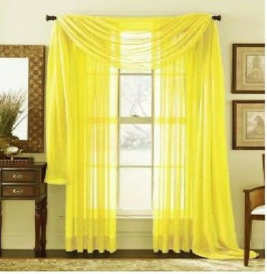"SHEER / SCARF Window Treatments Curtains Drape Valances 63"" 84"" 95""  YELLOW"
