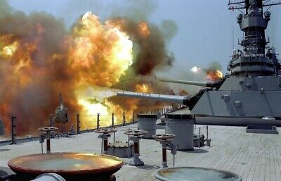 US Navy USN Battleship USS IOWA (BB-61) fires  Mark 7 16-inch/50-caliber gun