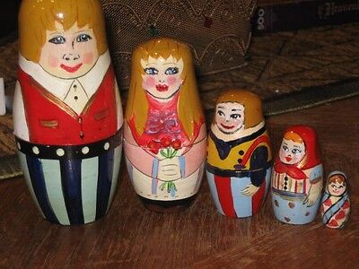 Set of 5 Hand Painted Family of  Nesting Dolls Wood