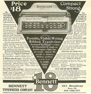 1909 Bennett Typewriter Company AD Portable Compact New York