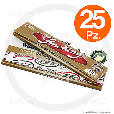 Cartine SMOKING ORO LUNGHE GOLD slim 25 pz King Size kingsize
