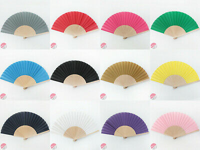 Hand Fan Wooden and Fabric 15 Colours Available