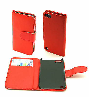 Red Protective Leather Wallet Case Cover Pouch Apple iPod Touch 5 Gen