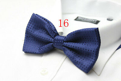 MENS Luxury 2 Layer NAVY BLUE with NAVY Polka Dot Dickie Bow Tie Adjustable NEW