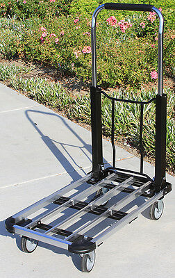 """220 Lb Aluminum 28"""" Flat Moving Sturdy Extendible Compact Hand Cart Truck Dolly"""