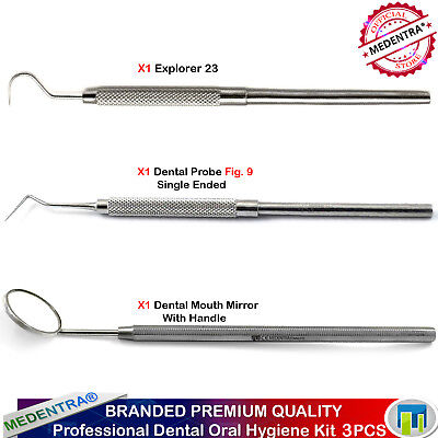 Dentist Dental Examination Cleaning Kit Set, Probe, Explorer,Mouth Mirror,Lab Ce