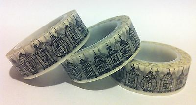 Washi Tape - Black Birds In Cage On White - 15Mm Wide - 10Mtr Roll